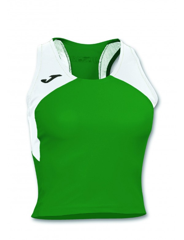 T-SHIRT RECORD II WOMAN GREEN-WHITE SLEEVELESS