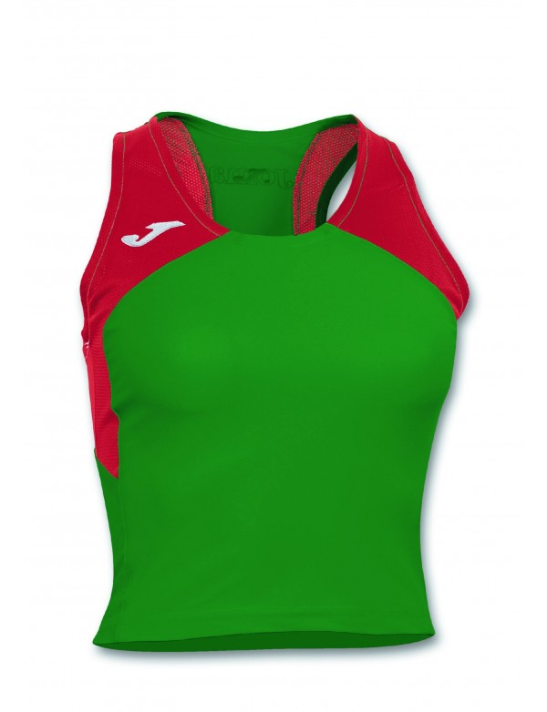 T-SHIRT RECORD II WOMAN GREEN-RED SLEEVELESS