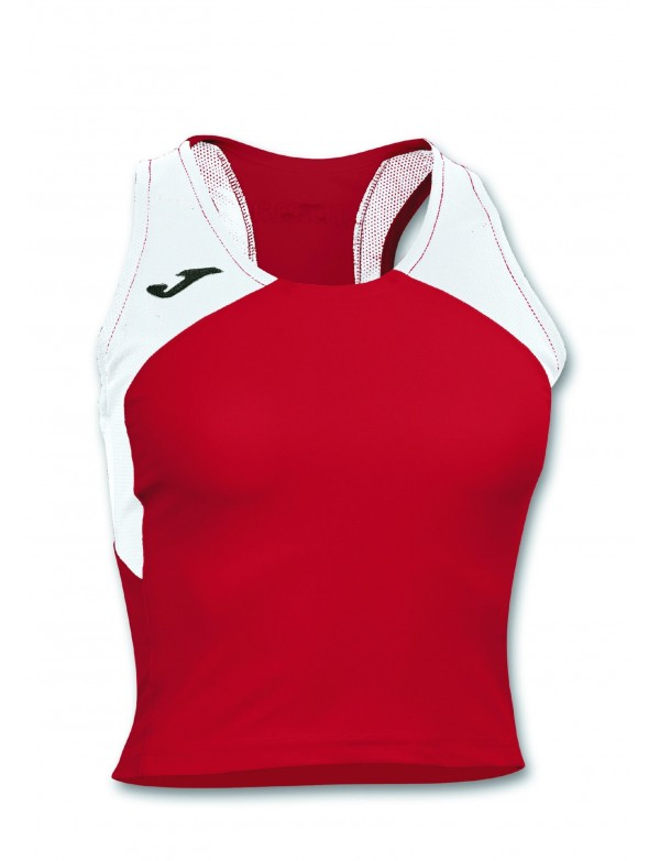 T-SHIRT RECORD II WOMAN RED-WHITE SLEEVELESS
