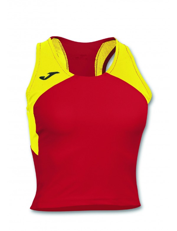 T-SHIRT RECORD II WOMAN RED-YELLOW SLEEVELESS
