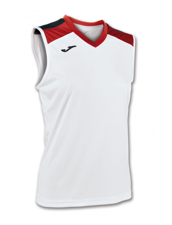VOLLEY SHIRT WHITE-RED SLEEVELESS W.