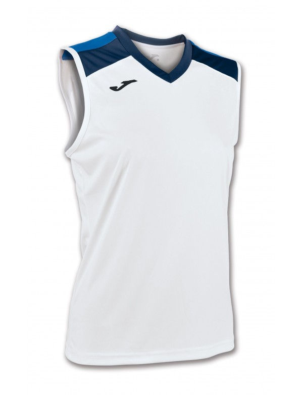 VOLLEY SHIRT WHITE-ROYAL SLEEVELESS W.