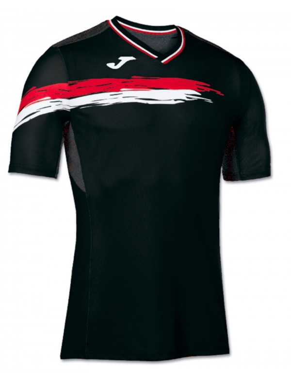 T-SHIRT TENNIS BLACK-RED S/S